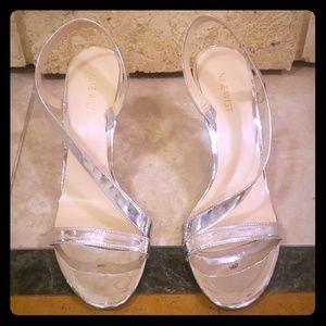 Metallic Silver Nine West 3 inch high heels